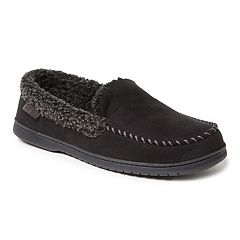 Men's Dearfoams Microfiber Suede Whipstitch Moccasin Slippers