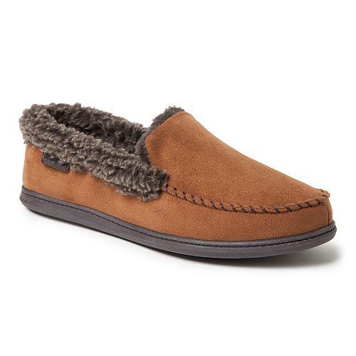 Men's Dearfoams Microfiber Suede Whipstitch Moccasin Slippers
