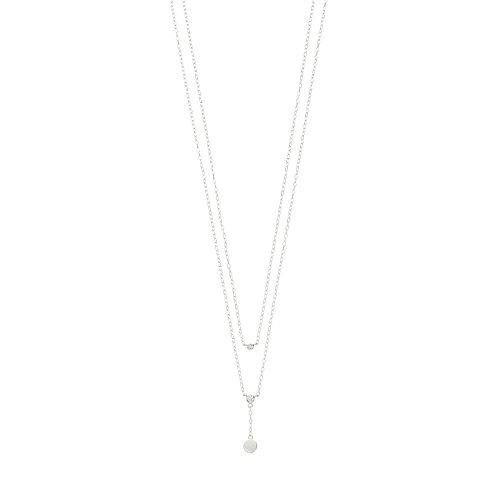 Sterling Silver Cubic Zirconia Double Strand Y Necklace
