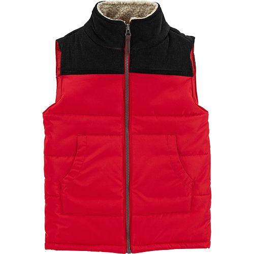 Boys 4-12 Carter's Quilted Colorblock Zip Vest