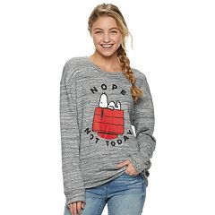 Juniors' Peanuts Snoopy 'Nope, Not Today' Fleece Pullover