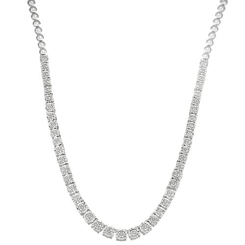 Sterling Silver 1/3 Carat T. W. Diamond Necklace