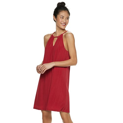 Juniors' Candie's® Pleated High Neck Swing Dress