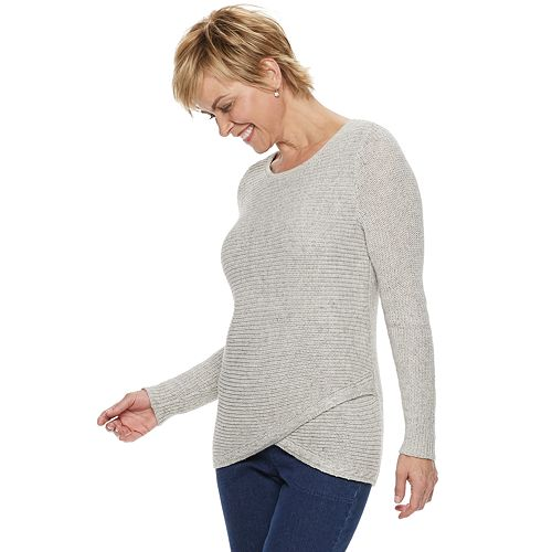 Women's Croft & Barrow® Tulip-Hem Crewneck Sweater