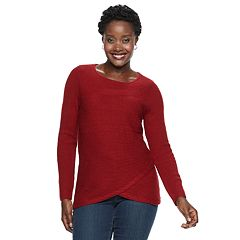 Women's Croft & Barrow® Tulip-Hem Crewneck Sweater