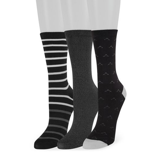 Women's SONOMA Goods for Life™ 3-Pack Stripes & Birdseye Crew Socks