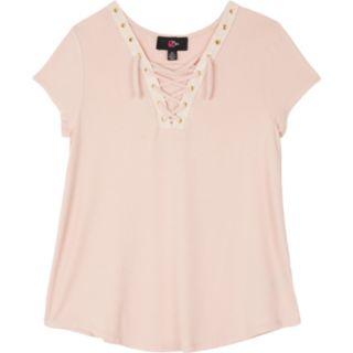 Girls 7-16 & Plus Size IZ Amy Byer Short Sleeve Lace-Up Swing Tee
