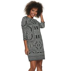 Petite Suite 7 Scroll Boatneck Shift Dress