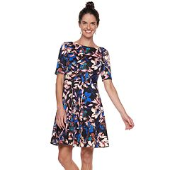 Petite Suite 7 Print Ponte Fit & Flare Dress