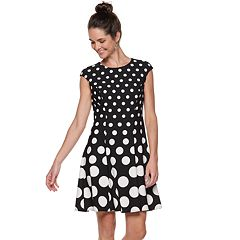Petite Suite 7 Polka Dot Fit & Flare Dress
