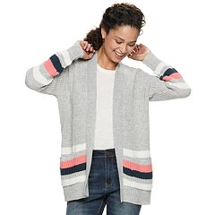 Juniors' It's Our Time Long Sleeve Striped Open Front Cardigan