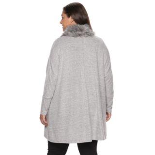 Plus Size Jennifer Lopez Faux-Fur Trim Dolman Cardigan