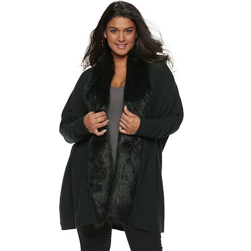 Plus Size Jennifer Lopez Faux-Fur Trim Dolman Cardigan