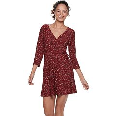 Juniors' Lily Rose Fit & Flare Wrap Dress