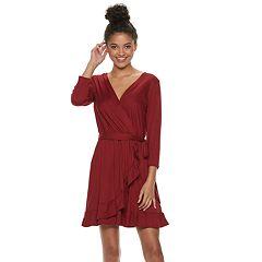 Juniors' Lily Rose Ruffle Trim Wrap Dress
