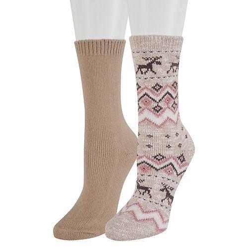 Women's SONOMA Goods for Life™ 2-Pack Fairisle Moose Crew Socks