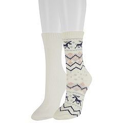 Women's SONOMA Goods for Life™ 2-Pack Fairisle Moose Crew Socks