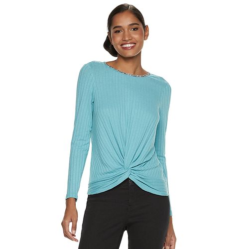 Women's Juicy Couture Twist-Front Ribbed Top