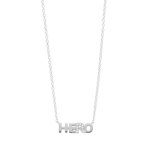 "love this life Sterling Silver Cubic Zirconia ""Hero"" Necklace"