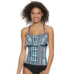 1dc2a2e357 Mix and Match Braided Racerback Flounce Tankini Top