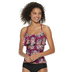 Mix and Match Braided Racerback Flounce Tankini Top
