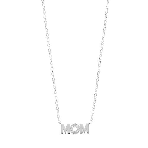 "love this life Sterling Silver Cubic Zirconia ""Mom"" Necklace"