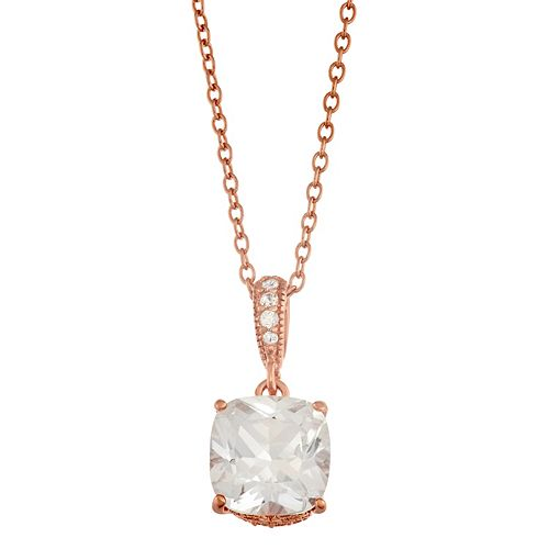 Lily & Lace Cubic Zirconia 14k Rose Gold Over Brass Pendant Necklace