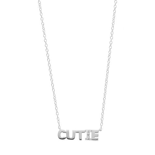 """love this life Sterling Silver Cubic Zirconia """"Cutie"""" Necklace"""