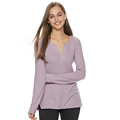 Juniors' SO Notchneck Long Sleeve Top