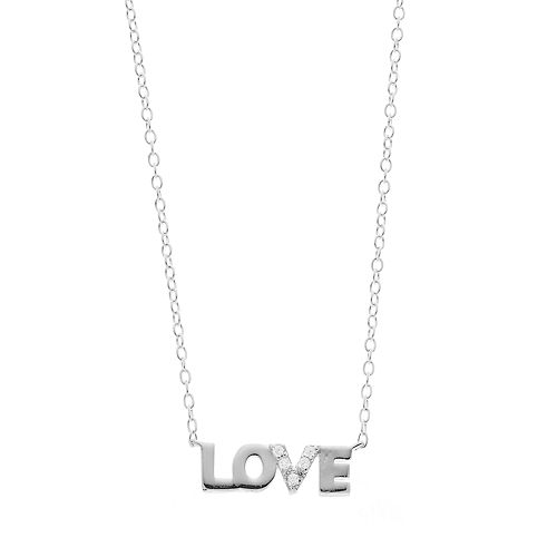 """love this life Sterling Silver Cubic Zirconia """"Love"""" Necklace"""