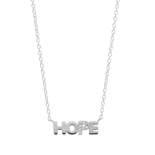 "love this life Sterling Silver Cubic Zirconia ""Hope"" Necklace"