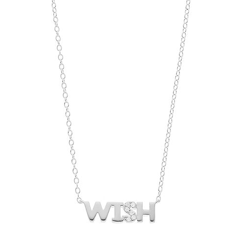 """love this life Sterling Silver Cubic Zirconia """"Wish"""" Necklace"""