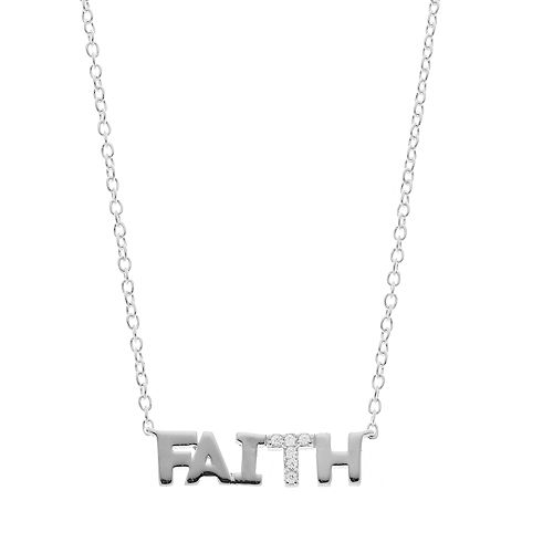 "love this life Sterling Silver Cubic Zirconia ""Faith"" Necklace"