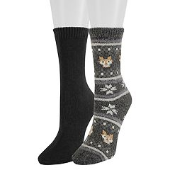 Women's SONOMA Goods for Life™ 2-Pack Fairisle Fox Crew Socks