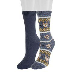 Women's SONOMA Goods for Life™ 2-Pack Fairisle Fox Crew Socks