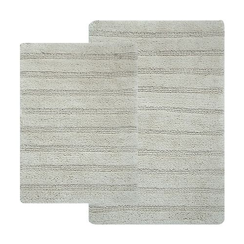 Hotel Collection Bath Mats: Hotel Collection 2-piece Striped Reversible Bath Rugs