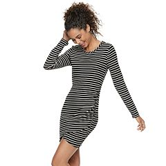 Juniors' Love, Fire Ruched Striped Bodycon Dress