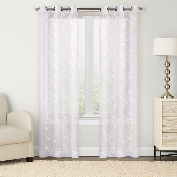 2 Pack Leaf Embroidered Window Curtain