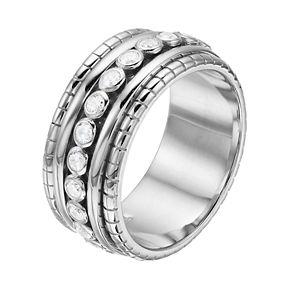 Sterling Silver Cubic Zirconia Bezel Ring