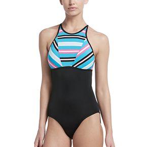 Women's Nike Sport Striped High-Neck One-Piece Swimsuit