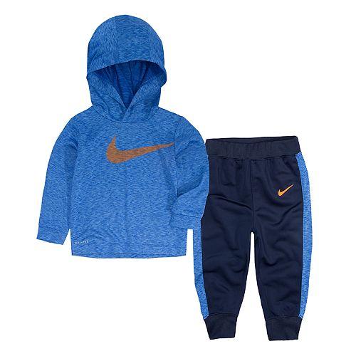 Baby Boy Nike 2-Piece Swoosh Hooded Top & Pants Set