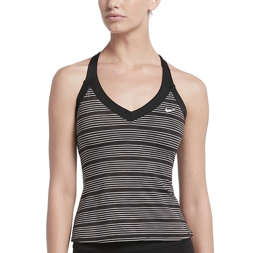 Women's Nike 6:1 Heather Striped V-Neck Tankini Top