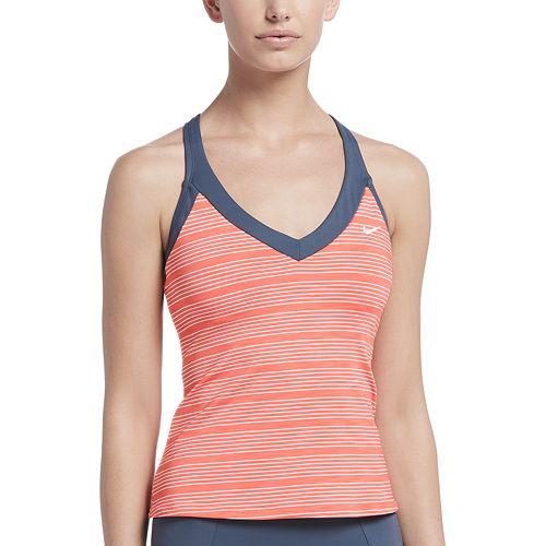 Women's Nike 6:1 Heather Striped V-Neck Tankini Top