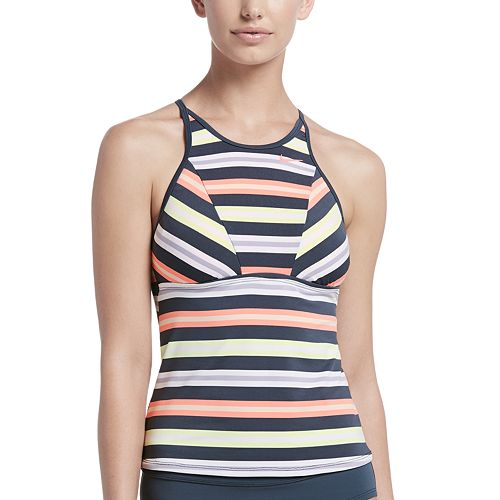 ea7425bed49 Women's Nike Sport Stripe High Neck Tankini Top