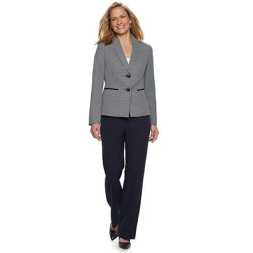 Women's Le Suit 2 Button Checked Jacket & Solid Pant Suit
