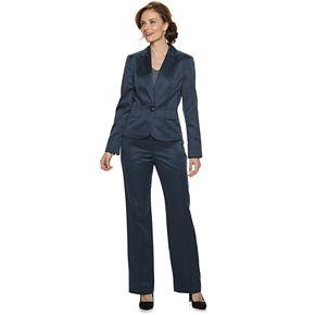 Women's Le Suit 1-Button Glossy Melange Pant Suit