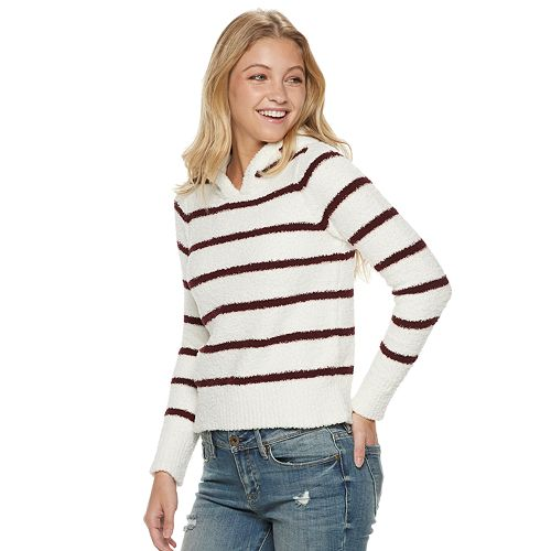 Juniors' Almost Famous Striped Hoodie Pullover