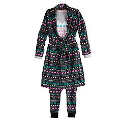 Girls 4-14 & Plus Size SO® Top & Fleece Bottoms Pajama & Robe Set