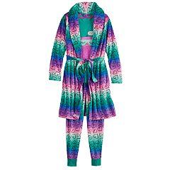 Girls 4-14 & Plus Size SO® Top & Fleece Bottoms Pajama & Robe Set
