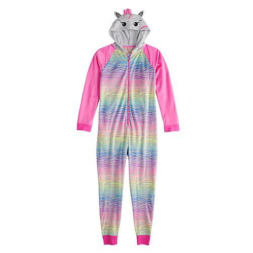 7704e034b Girls 4-14   Plus Size SO® Fleece Hooded Footless Pajamas